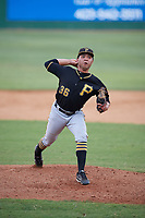 Bristol Pirates relief pitcher Argenis Romano (36) delivers a pitch during a game against the Elizabethton Twins on July 29, 2018 at Joe O'Brien Field in Elizabethton, Tennessee.  Bristol defeated Elizabethton 7-4.  (Mike Janes/Four Seam Images)