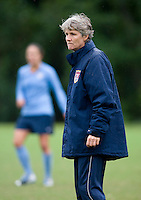 USWNT head coach Pia Sundhage watches her team during practice in Chester, PA.  The USWNT will take on China, in an international friendly at PPL Park, on October 6.