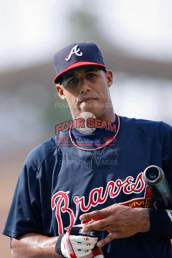 Yunel Escobar of the Atlanta Braves during batting practice before a game from the 2007 season at Dodger Stadium in Los Angeles, California. (Larry Goren/Four Seam Images)