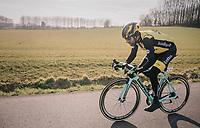 Tom Leezer (NED/LottoNL-Jumbo) wearing a Lazer helmet...<br /> <br /> Omloop Het Nieuwsblad 2018<br /> Gent › Meerbeke: 196km (BELGIUM)