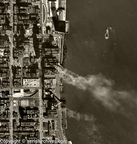 historical aerial map view United Nations headquarters just after completion and East river water front Manhattan, New York City, 1954