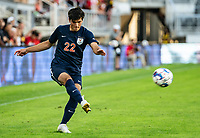 WASHINGTON, DC - SEPTEMBER 6: Virginia midfielder Michael Tsicoulias (22) sends over a cross during a game between University of Virginia and University of maryland at Audi Field on September 6, 2021 in Washington, DC.
