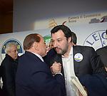 SILVIO BERLUSCONI CON MATTEO SALVINI <br /> CHIUSURA CAMPAGNA ELETTORALE LEZIONI POLITICHE AL TEMPIO DI ADRIANO ROMA 2018