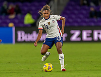 ORLANDO, FL - JANUARY 18: Catarina Macario #29 of the USWNT passes the ball during a game between Colombia and USWNT at Exploria Stadium on January 18, 2021 in Orlando, Florida.