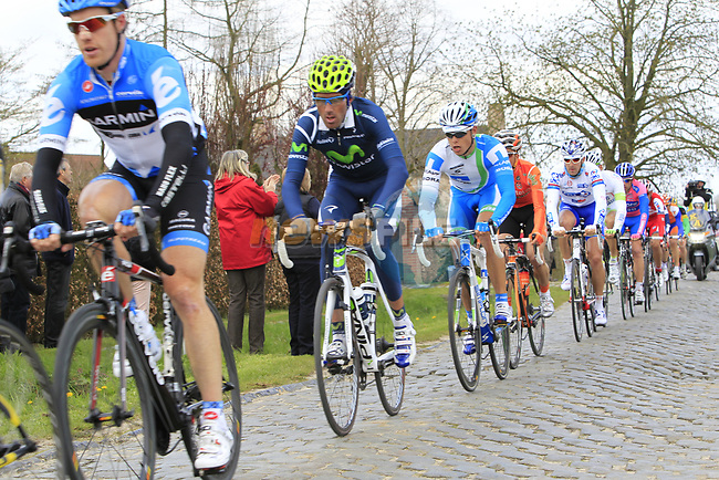 The breakaway group of riders including Tyler Farrar (USA) Garmin-Barracuda and Pablo Lastras Garcia (ESP) Movistar Team on the 2nd cobbled section at Doorn during the 96th edition of The Tour of Flanders 2012, running 256.9km from Bruges to Oudenaarde, Belgium. 1st April 2012. <br /> (Photo by Eoin Clarke/NEWSFILE).