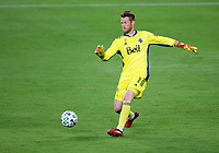 LOS ANGELES, CA - SEPTEMBER 23: Bryan Meredith #1 GK for the Vancouver Whitecaps runs to the ball during a game between Vancouver Whitecaps and Los Angeles FC at Banc of California Stadium on September 23, 2020 in Los Angeles, California.