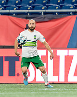 FOXBOROUGH, MA - AUGUST 26: Tyler Polak #3 of Greenville Triumph SC attempts to control the ball during a game between Greenville Triumph SC and New England Revolution II at Gillette Stadium on August 26, 2020 in Foxborough, Massachusetts.