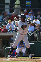 Wilmington Blue Rocks infielder Daniel Mateo #16 at bat during a game against the Myrtle Beach Pelicans at Ticketreturn.com Field at Pelicans Ballpark on April 7, 2013 in Myrtle Beach, South Carolina. Wilmington defeated Myrtle Beach 7-2. (Robert Gurganus/Four Seam Images)