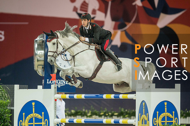 Emanuele Gaudiano of Italy riding Caspar during the Hong Kong Jockey Club Trophy competition, part of the Longines Masters of Hong Kong on 10 February 2017 at the Asia World Expo in Hong Kong, China. Photo by Juan Serrano / Power Sport Images
