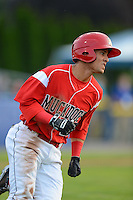 Batavia Muckdogs outfielder Yefri Perez #12 during a game against the Mahoning Valley Scrappers on June 22, 2013 at Dwyer Stadium in Batavia, New York.  Batavia defeated Mahoning Valley 2-1 in ten innings.  (Mike Janes/Four Seam Images)