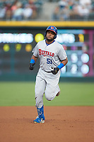 Socrates Brito (51) of the Buffalo Bisons rounds the bases after hitting a home run against the Caballeros de Charlotte at BB&T BallPark on July 23, 2019 in Charlotte, North Carolina. The Bisons defeated the Caballeros 8-1. (Brian Westerholt/Four Seam Images)