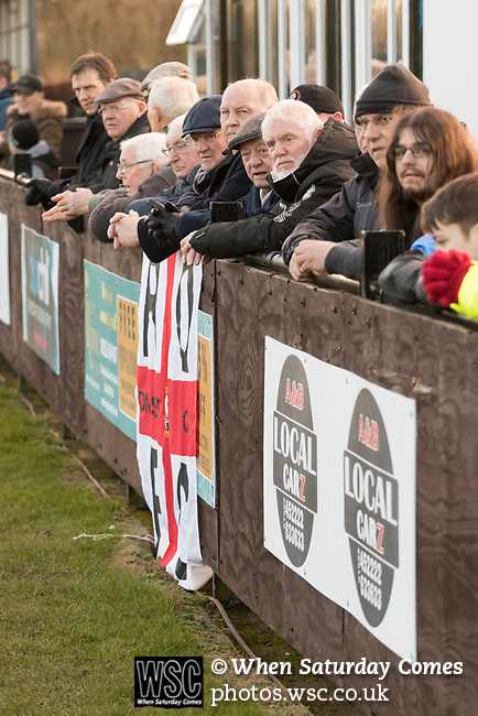 Rushall Olympic 1 Workingon 0, 17/02/2018. Dales Lane, Northern Premier League Premier Division. Rushall fans. Photo by Paul Thompson. Rushall Olympic 1 Workingon 0, Northern Premier League Premier Division, 17th February 2018. Rushall is a former mining village now part of the northern suburbs of Walsall.