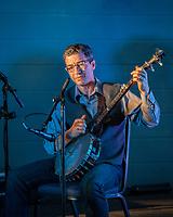 Banjo Musician, Arts A Glow Festival, Dottie Harper Park, Burien, Washington State, WA, America, USA.
