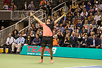March 05, 2018: Jack Sock (USA) reacts while partnered with Savannah Guthrie during their doubles set against Roger Federer (SUI) and Bill Gates at The Match for Africa 5 Silicon Valley played at the SAP Center in San Jose, California. ©Mal Taam/TennisClix
