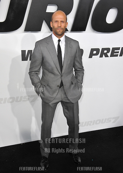 """Jason Statham at the world premiere of his movie """"Furious 7"""" at the TCL Chinese Theatre, Hollywood.<br /> April 1, 2015  Los Angeles, CA<br /> Picture: Paul Smith / Featureflash"""