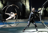 PICTURED: The gravity defying German Wheel takes centre ring at the opening of CIRQUE AVAIA, Performance Pavilion at Woodbine Racetrack. A magical, mystical, mesmerizing spectacle in Toronto from Russia for the very first time. (CNW Group/Cirque Avaia)