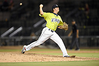 Pitcher Allan Winans (28) of the Columbia Fireflies delivers a pitch in a game against the Augusta GreenJackets on Thursday, July 11, 2019 at Segra Park in Columbia, South Carolina. Columbia won, 5-2. (Tom Priddy/Four Seam Images)