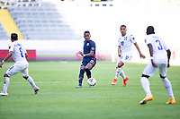 GUADALAJARA, MEXICO - MARCH 28: Andres Perea #15 of the United States passes off the ball during a game between Honduras and USMNT U-23 at Estadio Jalisco on March 28, 2021 in Guadalajara, Mexico.