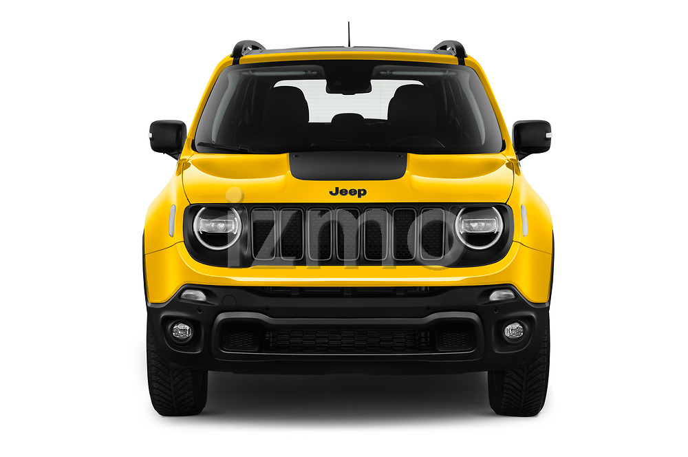 Car photography straight front view of a 2019 JEEP Renegade Trailhawk 5 Door SUV Front View