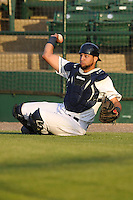 Burlington Bees catcher Webster Rivas (14) throws to the home plate after a wild pitch during the Midwest League game against the Peoria Chiefs at Community Field on June 9, 2016 in Burlington, Iowa.  Peoria won 6-4.  (Dennis Hubbard/Four Seam Images)
