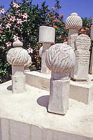 Tunis, Tunisia.  Grave Markers, Ottoman and Husseinite, 17th-19th. Centuries.  Zawiya of Sidi Kacem Al-Jalizi.