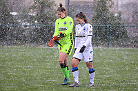 Goalkeeper Femke Schamp (1) of Club Brugge and Jody Vangheluwe (22) of Club Brugge pictured before a friendly female soccer game between SC Eendracht Aalst and Club Brugge YLA on Saturday 16 January 2021 at Zandberg Youth Complex in Aalst , Belgium . PHOTO SPORTPIX.BE   SPP   SEVIL OKTEM