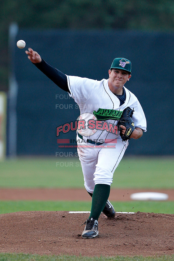 Jamestown Jammers pitcher Jose Fernandez #37, the Marlins first round draft choice, delivers a warm up pitch during the first inning of a game against the Mahoning Valley Scrappers at Russell E. Diethrick Jr Park on September 2, 2011 in Jamestown, New York.  Mahoning Valley defeated Jamestown 8-4.  (Mike Janes/Four Seam Images)