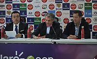BOGOTA - COLOMBIA - 13 - 03 - 2018: Orlando Merlano (Izq.); Director del Instituto Distrital para la Recreación y el Deporte (IDRD); Frank Harb (Cent.), Vicepresidente Comercial de Colsanitas y Gabriel De Las Casas (Der.), Director de Comunicaciones de Claro, durante la presentación del Claro Colsanitas WTA 2018 de tenis, que se realizara en las canchas del Club Los Lagartos en la ciudad de Bogota del 7 al 15 de abril de 2018. / Orlando Merlano (L); Director of the District Institute for Recreation and Sports (IDRD); Frank Harb (C), Commercial Vice President of Colsanitas and Gabriel De Las Casas (R), Communications Director of Claro, during the presentation of the Claro Colsanitas WTA 2018 of Tennis Championships, to be held in the courts of the Club Los Lagartos in Bogota city, from 7 to April 15, 2018. Photo: VizzorImage / Luis Ramirez / Staff.