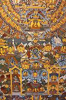 Kathmandu, Nepal.  A Thangka, a Traditional Tibetan Buddhist Mandala Painting.