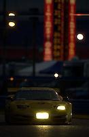 "The #3 ""Earnhardt"" Corvette races into the International Horseshoe in the early morning twilight..39th Rolex 24 at Daytona, 3/4 February,2001 Daytona International Speedway  Daytona Beach,Florida,USA.©F.Peirce Williams 2001 .."