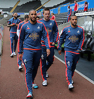 (L-R) Ashley Williams, Gylfi SIgurdsson and Wayne Routledge of Swansea before the Barclays Premier League match between Swansea City and Leicester City at the Liberty Stadium, Swansea on December 05 2015