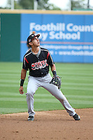 Javier Guerra (12) of the Lake Elsinore Storm during a game against the Rancho Cucamonga Quakes at LoanMart Field on April 10, 2016 in Rancho Cucamonga, California. Lake Elsinore defeated Rancho Cucamonga, 7-6. (Larry Goren/Four Seam Images)