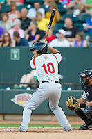 Alex Lavisky (10) of the Carolina Mudcats at bat against the Winston-Salem Dash at BB&T Ballpark on July 25, 2013 in Winston-Salem, North Carolina.  The Mudcats defeated the Dash 5-4.  (Brian Westerholt/Four Seam Images)
