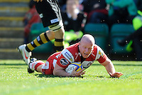 Scott Lawson of Gloucester Rugby dives over to score a try during the Aviva Premiership match between London Wasps and Gloucester Rugby at Adams Park on Sunday 1st April 2012 (Photo by Rob Munro)