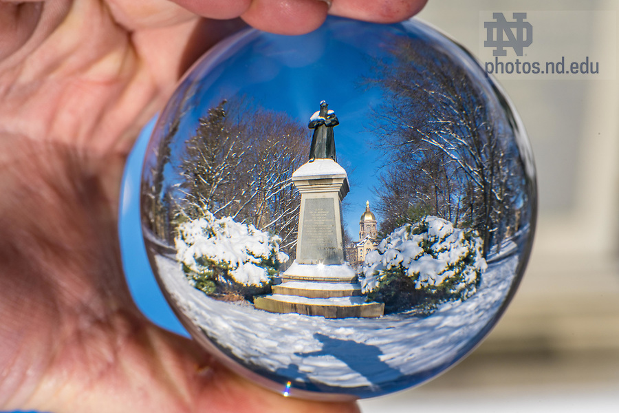 December 10, 2017; Sorin statue refracted in a crystal ball. 6 of 12 (Photo by Matt Cashore/University of Notre Dame)