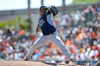Tampa Bay Rays pitcher Jose Dominguez (52) during a Spring Training game against the Baltimore Orioles on March 14, 2015 at Ed Smith Stadium in Sarasota, Florida.  Tampa Bay defeated Baltimore 3-2.  (Mike Janes/Four Seam Images)