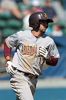 Deven Marrero #17 of the Arizona State Sun Devils runs to first base during a game against the Long Beach State Dirtbags at Blair Field on March 11, 2012 in Long Beach,California. Arizona State defeated Long Beach State 6-1.(Larry Goren/Four Seam Images)