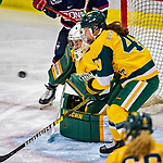 8 February 2020: University of Vermont Catamount Goaltender Natalie Ferenc, a Freshman from Orchard Lake, MI, gives up a third period goal to the University of Connecticut Huskies at Gutterson Fieldhouse in Burlington, Vermont. The Huskies defeated the Lady Cats 4-2 in the first game of their weekend Hockey East series. Mandatory Credit: Ed Wolfstein Photo *** RAW (NEF) Image File Available ***