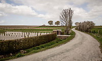 Empty gravel roads (called 'Plugstreets') along the New-Zealand WW1 Memorial Cemetery on race day…<br /> <br /> Due to the international pandemic caused by the coronavirus COVID-19, the 82nd edition of Gent-Wevelgem in Flanders Fields (BEL/1.UWT), like all other Spring Classics in 2020, was cancelled which left the race roads (as the rest of the country in lockdown) eerily empty on race day…<br /> <br /> 1 day race from Ypres to Wevelgem (257km)<br /> <br /> ©kramon