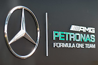 March 14, 2015: AMG Petronas team signage at the 2015 Australian Formula One Grand Prix at Albert Park, Melbourne, Australia. Photo Sydney Low