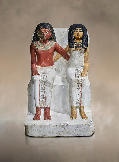 Ancient Egyptian statue of Amenmes and his wife Taka, New Kingdom, 18th Dynasty, (1480-1390 BC), Thebes Necropolis. Egyptian Museum, Turin.  Drovetti collection. Cat 3059