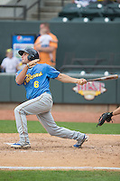 Mark Zagunis (6) of the Myrtle Beach Pelicans follows through on his swing against the Winston-Salem Dash at BB&T Ballpark on May 10, 2015 in Winston-Salem, North Carolina.  The Pelicans defeated the Dash 4-3.  (Brian Westerholt/Four Seam Images)