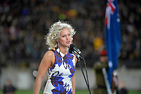 Singer Ainslie Allen during the All Blacks v Wallabies. The Rugby Championship & Bledisloe Cup at Westpac Stadium, Wellington, New Zealand on Saturday 27 August 2016.<br /> Photo by Masanori Udagawa. <br /> www.photowellington.photoshelter.com.
