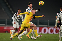 Adrien Rabiot of Juventus FC and Marko Rog of Cagliari Calcio compete for the ball during the Serie A football match between Juventus FC and Cagliari Calcio at Allianz stadium in Torino (Italy), November21th, 2020. Photo Federico Tardito / Insidefoto