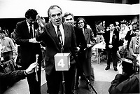 March 15, 1987  File Photo-  Ed Broadbent, leader, Canada New Democratic Party (NDP) speak at the  1987 convention  in Montreal.<br /> <br /> <br /> PHOTO :  Agence Quebec Presse