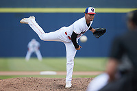 Kannapolis Cannon Ballers relief pitcher Jesus Valles (14) in action against the Carolina Mudcats at Atrium Health Ballpark on June 13, 2021 in Kannapolis, North Carolina. (Brian Westerholt/Four Seam Images)