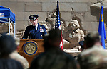 Brig. Gen. William Burks speaks at the annual Flag Day ceremony at the Nevada Veterans Memorial on the Capitol grounds in Carson City, Nev., on Friday, June 14, 2019. <br /> Photo by Cathleen Allison/Nevada Momentum