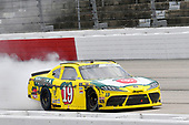 #19: Brandon Jones, Joe Gibbs Racing, Toyota Supra 03 Dash Championship celebrates his win with a burnout