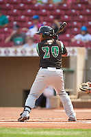 Dayton Dragons designated hitter Kevin Franklin (20) at bat during a game against the Cedar Rapids Kernels on July 24, 2016 at Perfect Game Field in Cedar Rapids, Iowa.  Cedar Rapids defeated Dayton 10-6.  (Mike Janes/Four Seam Images)