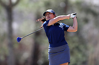 WALLACE, NC - MARCH 09: Caroline Cahill of UNC Wilmington tees off on the 16th hole of the River Course at River Landing Country Club on March 09, 2020 in Wallace, North Carolina.